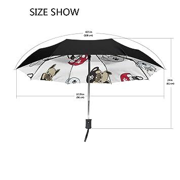 Ieararfre - Paraguas con diseño de Perro Bulldog francés, Tres Pliegues, Resistente al Viento