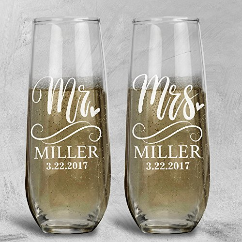 P Lab Set of 2, Mr. Mrs. Heart Last Name & Date , Personalized Wedding Toast Stemless Champagne Flute Set, Wedding Toasting Glasses - Etched Flutes for Bride & Groom Customized Wedding Gift #5