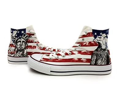 091ba41e98e5 Canvas Shoes USA Flag Men Women Hand Painted Eagle Statue of Liberty High  Top Canvas Shoes