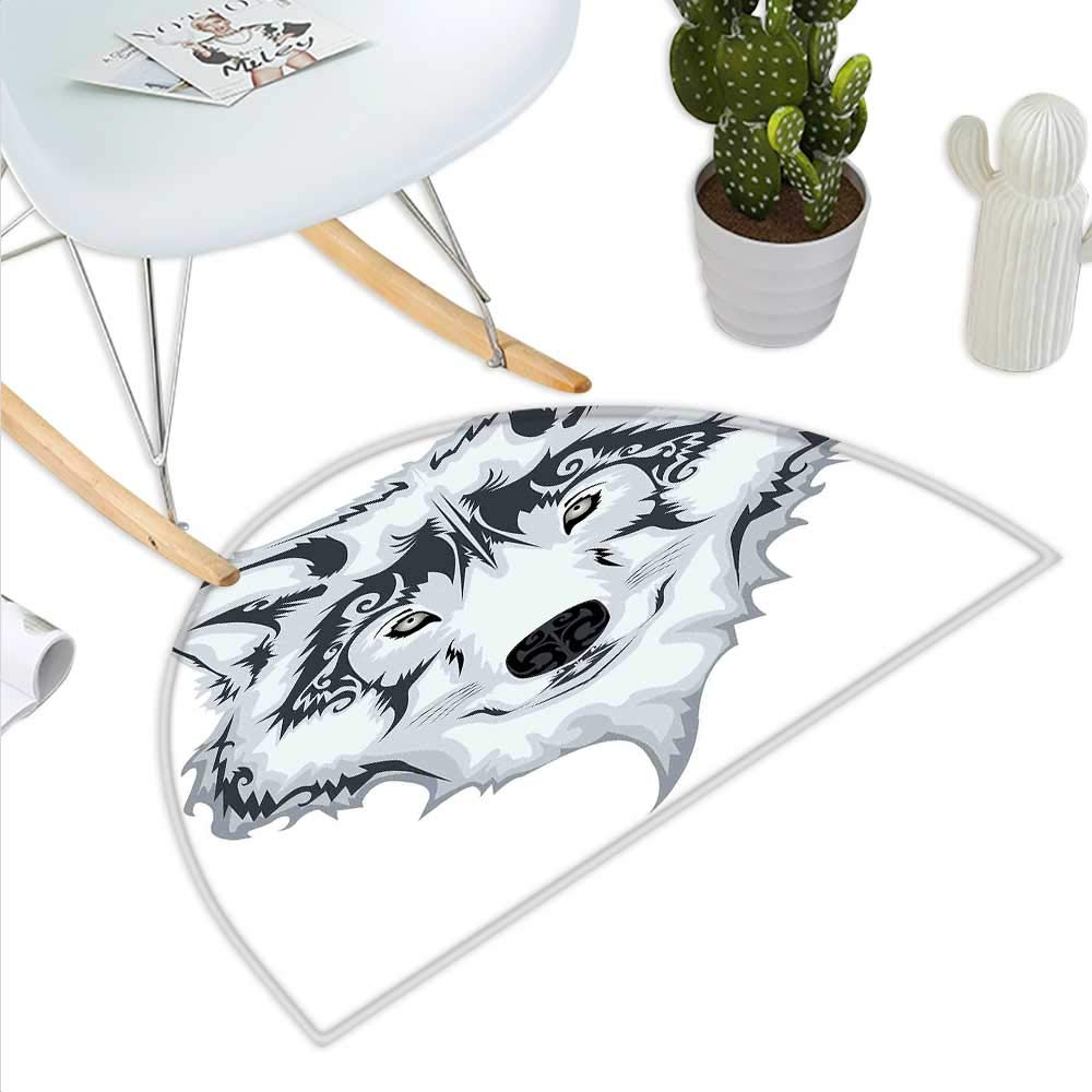 color15 H 15.7  xD 23.6  Tattoo Semicircle Doormat The Head of Magnificent Rare White Albino Tiger with Ocean bluee Eyes Image Halfmoon doormats H 27.5  xD 41.3  White Black and bluee