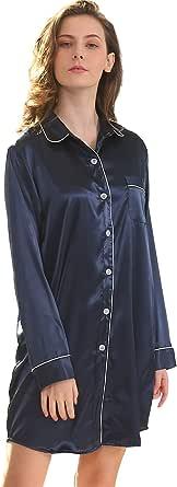 Shymay Women's Satin Sleep Shirt Long Sleeve Pajama Top Boyfriend Shirt Nightgown for Women Sleep Dress