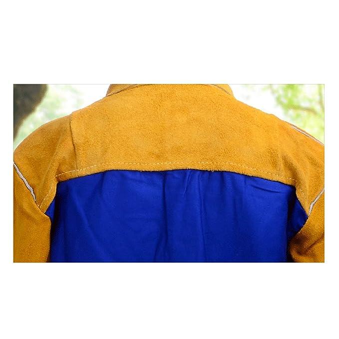 MagiDeal Soldador de Hombre Soldadura Chaqueta Ropa Protectora Ropa de Traje Soldadores de Seguridad - Amarillo, M: Amazon.es: Jardín