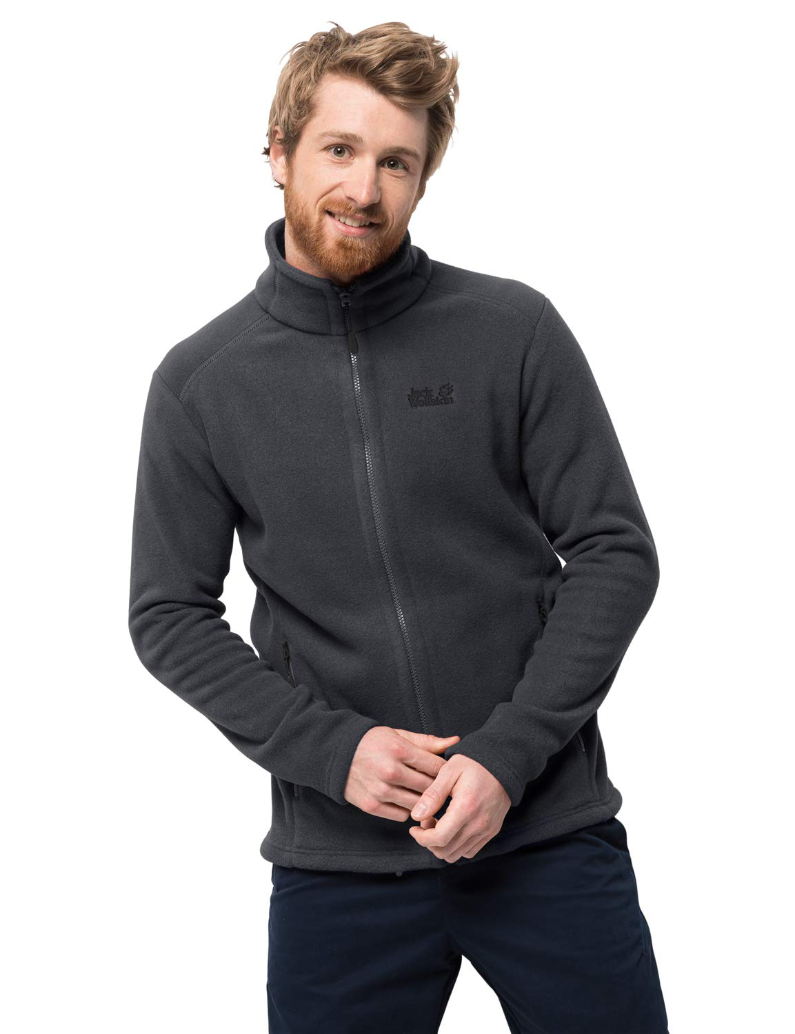 Jack Wolfskin Hombre Midnight Moon Forro polar reciclado jkt Regular-System-Zip, Ebony, X-Large