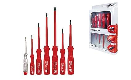 Wiha 07151 VDE - Juego de destornilladores de punta plana de electricista y comprobador de tensión unipolar (7 piezas)