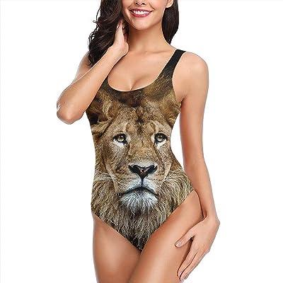 Traje de baño de Bikini de una Pieza para Mujer Lion Animal Swim Halter Bathing Suit Tummy Control Beach Swimwear: Ropa y accesorios