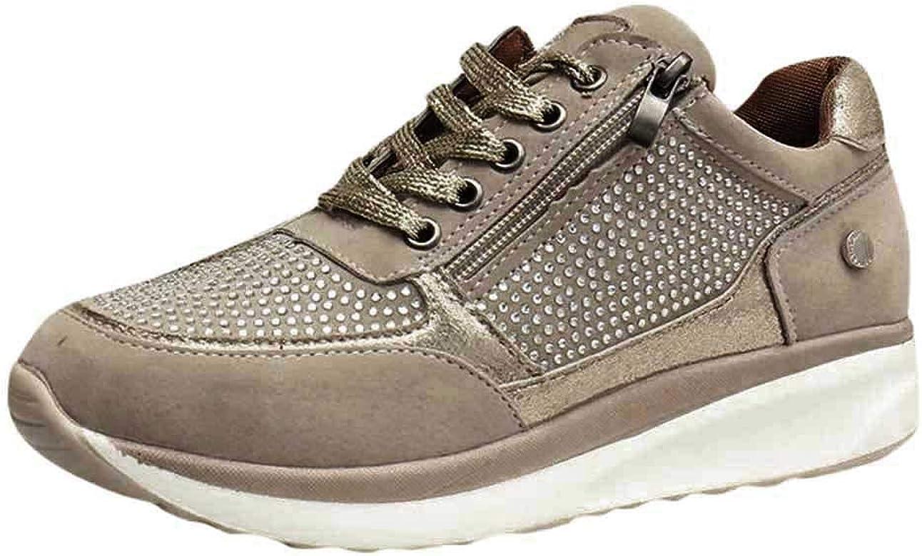 Elecenty Zapatillas de Running para Mujer Fondo Grueso Casual Sneaker Zapatos de Cordones Antideslizante Fitness Calzado Deportivo Sport Shoes: Amazon.es: Zapatos y complementos