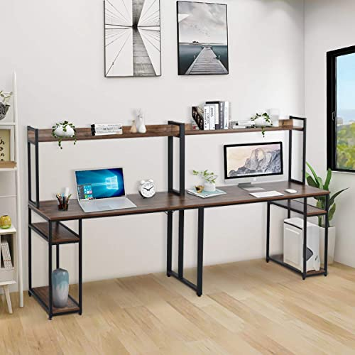 Danxee 95 inch Two Person Desk Extra Long Modern Computer Desk