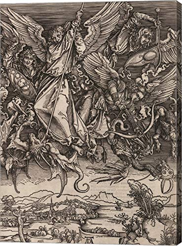 St. Michael Fighting The Dragon by Albrecht Durer, 1498 Canvas Art Wall Picture, Gallery Wrap, 20 x 28 inches