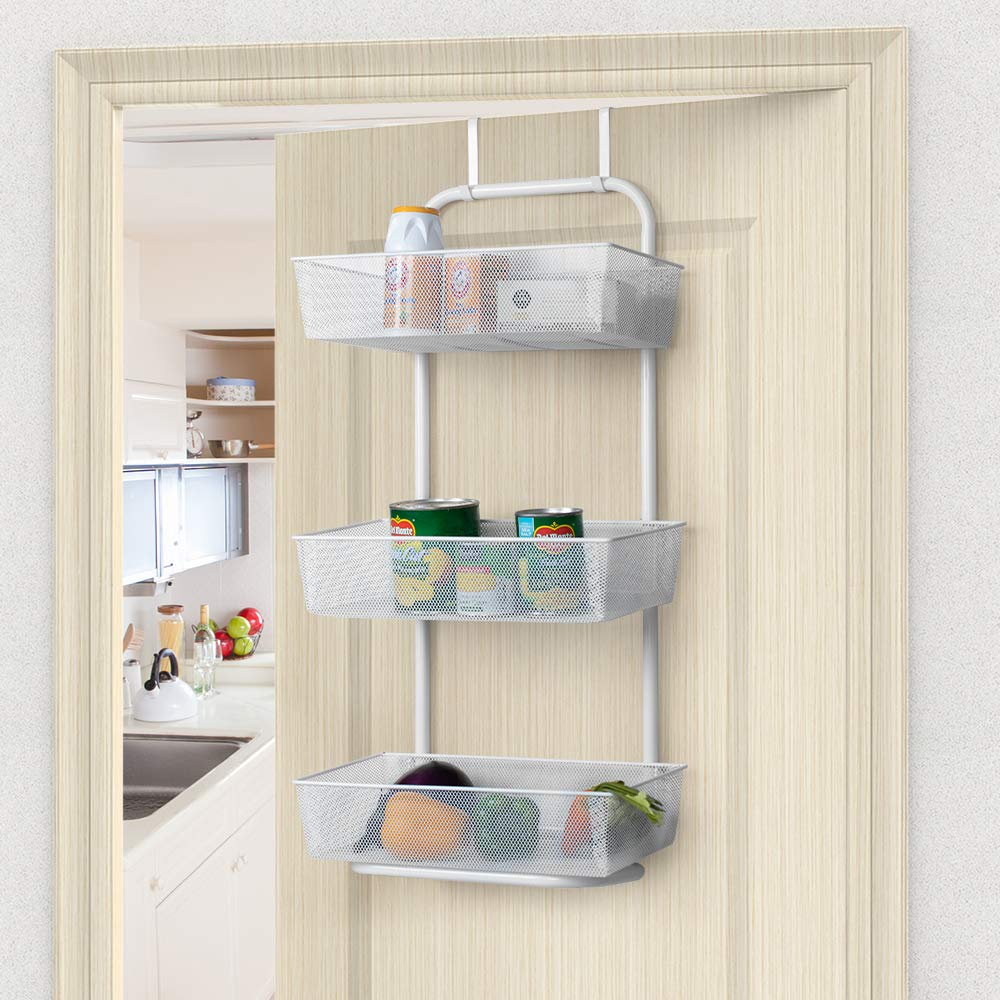 3-Tier Mesh Basket Hanging Storage Unit Over Door Pantry Rack Organizer NEX Over the Door Basket Organizer