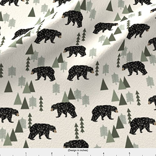 Bear Fabric Forest Bear // Cream Green Neutral Baby Nursery Boys Forest Mountain Woodland Geometric Bear by Andrea Lauren Printed on Basic Cotton Ultra Fabric by the Yard by Spoonflower