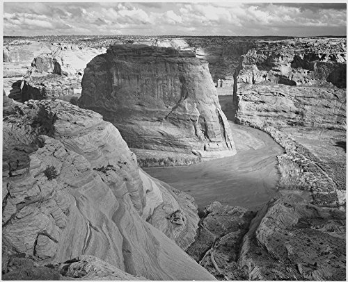 View of valley from mountain Canyon de Chelly National Monument Arizona 1933 - 1942 Poster Print by Ansel Adams (18 x 24) Canyon De Chelly National Monument