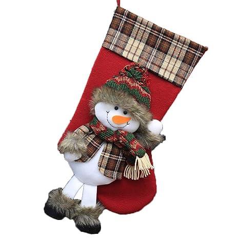 Zhangcaiyun Calcetines Adornos navideños Dulces Calcetines Bolsas de Regalo Decoración de la Chimenea Calcetín de Navidad