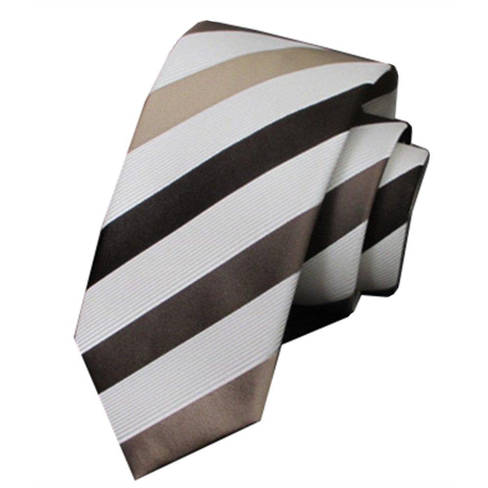 Y-WEIFENG Soil Gold White Stripes Business Corbata Formal de Seda ...