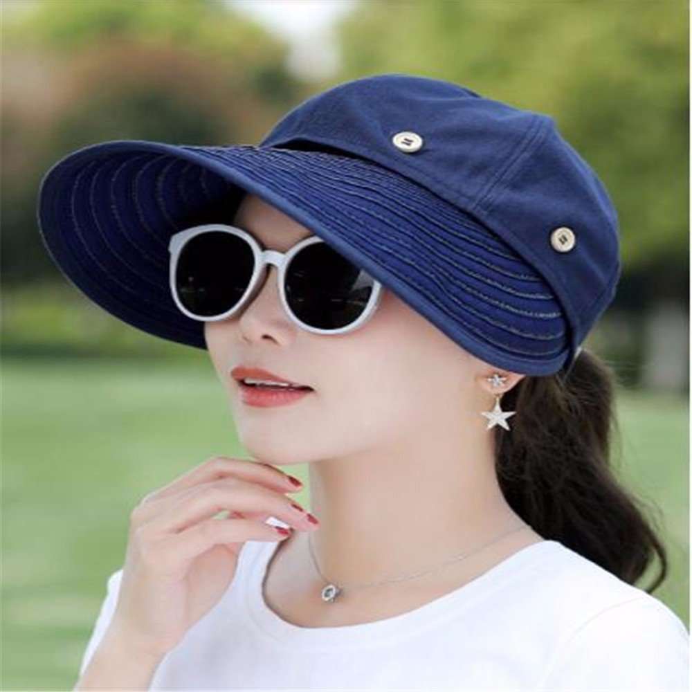 Women Hat Summer Fall Sun Protection Sunshade Outdoor Cycling Wide-Brimmed Hat Face Uv Protection Sun Hat Navy RangYR