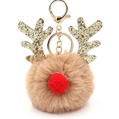 Amazon.com: NiceWave llavero esponjoso con colgante de elk ...