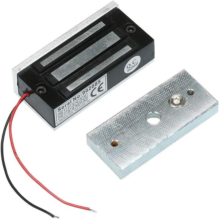 OWSOO Cerradura Electrónica y Magnética, 60KG/132LBS Fuerza de Retención, DC12V, Modo de NC Seguro, Cerradura Electrica para Sistema de Control de Acceso