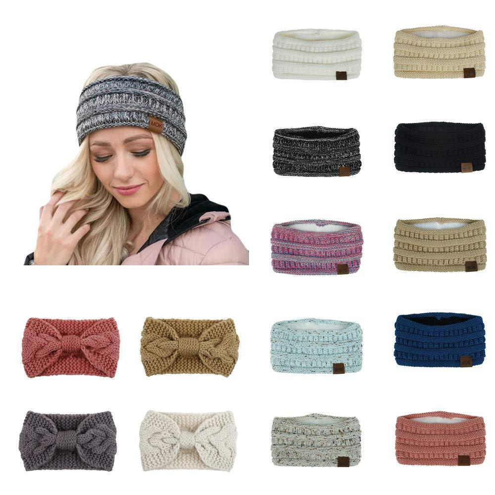 Women Girls Fuzzy Fleece Lined Thick Cable Knitt Headband Head Wrap Ear Warmer Beige /& Green