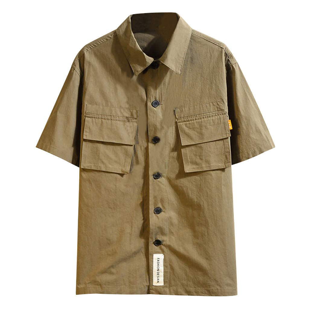 Mens Casual Pocket Button-Down Lapel T-Shirt Slim Military Solid Color Short Sleeve Top Blouse (5XL, Army Green)