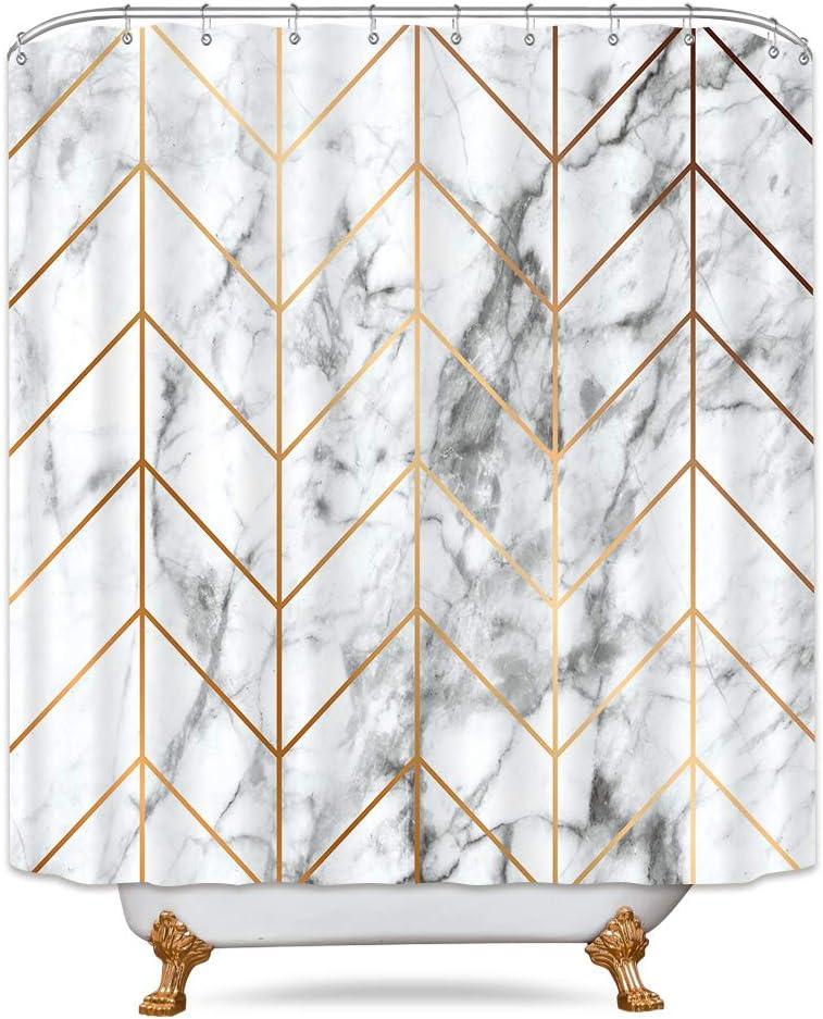 Riyidecor Geometric Marble Shower Curtain Chevron Stripe Black and White Bathroom Decor Fabric Set Polyester Waterproof 72x72 Inch 12 Pack Plastic Hooks