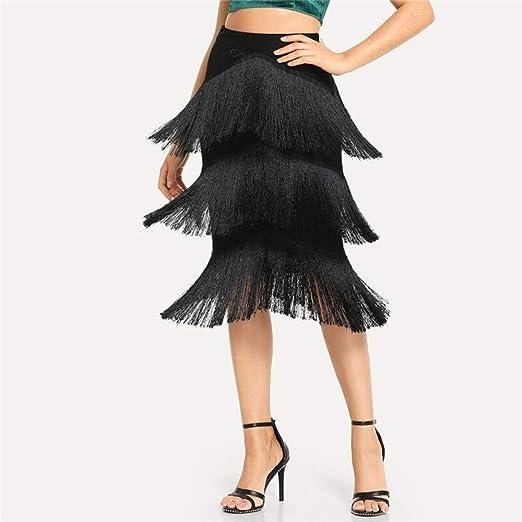 QZBTU Faldas Mujer Falda con Flecos Sólidos Mujeres Otoño Faldas ...