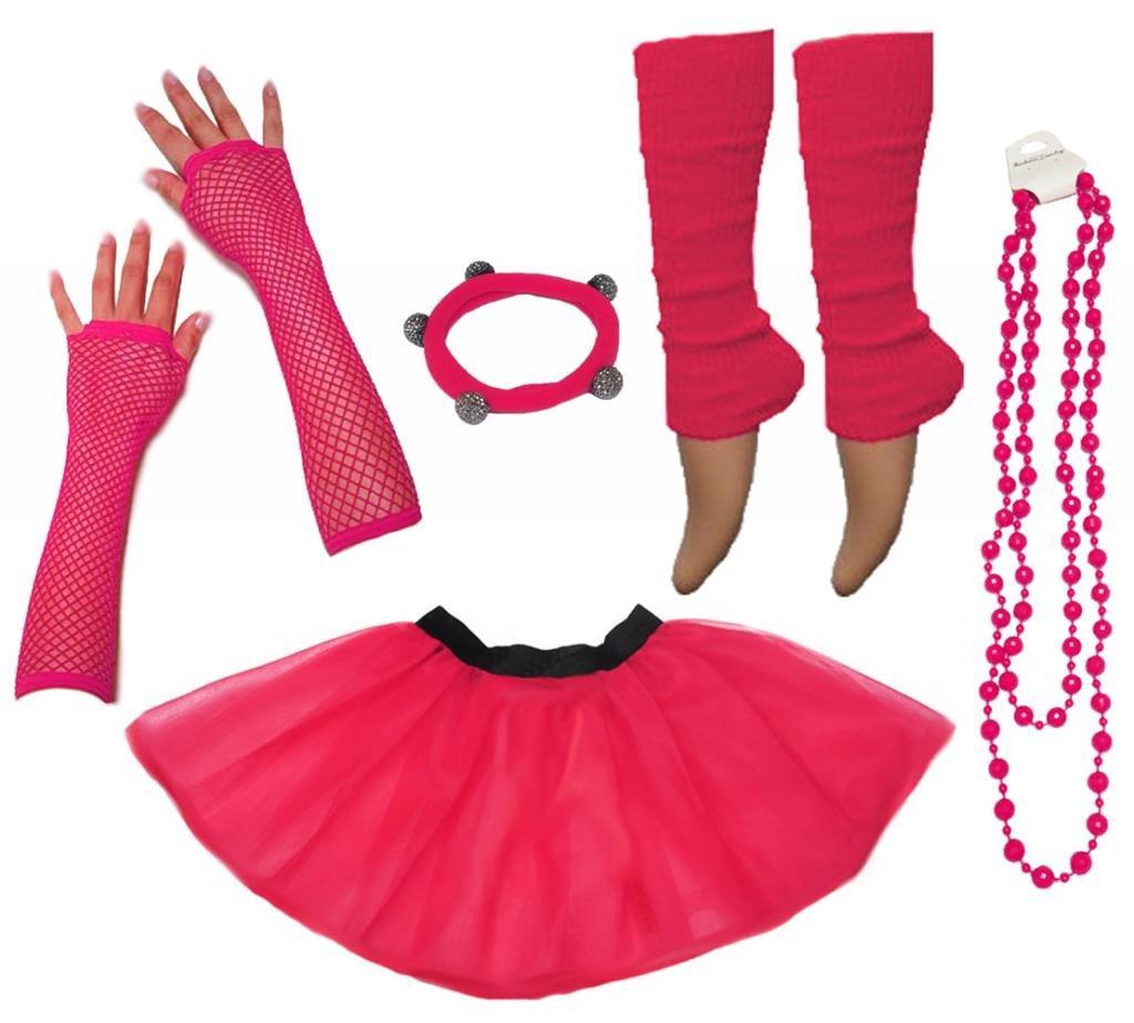 A-Express Mujer Chicas Ne/ón Falda Tutu Calentador de Pierna Collar Guantes Fiesta Disfraces completar Conjunto Rojo EU46-54