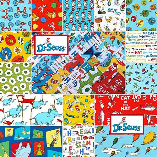 Robert Kaufman 60 Piece DR. Seuss Favorites Precut 5-inch Cotton Quilting Squares Charm Pack Fabric Cotton Assortment Dr Seuss
