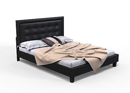 Forzza Brett Upholstered Queen Size Bed (Black)