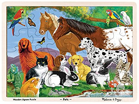 dbfa05b403b8 Image Unavailable. Image not available for. Color  Melissa   Doug Pets  Wooden Jigsaw Puzzle With Storage Tray ...