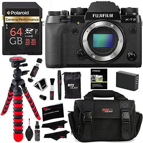 Fujifilm X-T2 Mirrorless Digital Camera (Body Only), Polaroid 64GB, Memory Card Wallet, Ritz Gear Bag, Tripod, Spare Battery and Accessory...