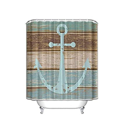 Extra Long Shower Curtain Nautical Anchor Rustic Wood Striped Door Design 72X84