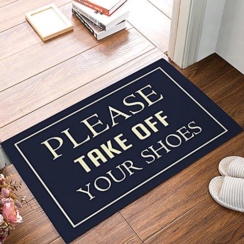 KAROLA Funny Doormat Please Take Off Your Shoes Non-slip Rubber Entrance Mat Floor Rug Indoor/Outdoor/Front Door/Bathroom Mats Personalized 30(L) x 18(W) inch (Door Double Personalized Mat)