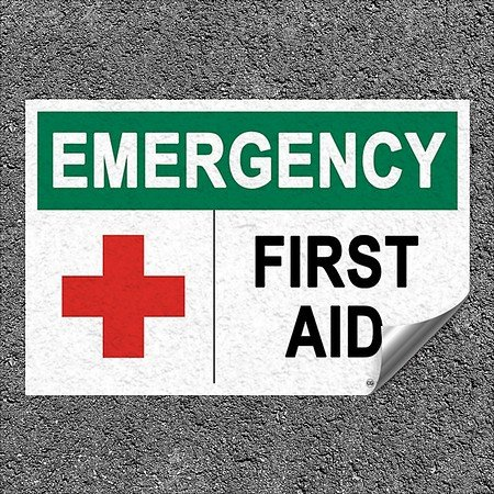 CGSignLab |''First Aid -Emergency Sign'' Heavy-Duty Industrial Self-Adhesive Aluminum Wall Decal | 18''x12''