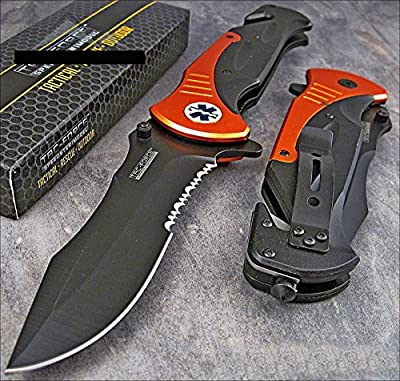 "Tac-force Extra Large 10.5"" Orange Emt Folder Blade Tactical Rescue Pocket Knife"