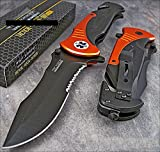 Tac-force Extra Large 10.5'' Orange Emt Folder Blade Tactical Rescue Pocket Knife