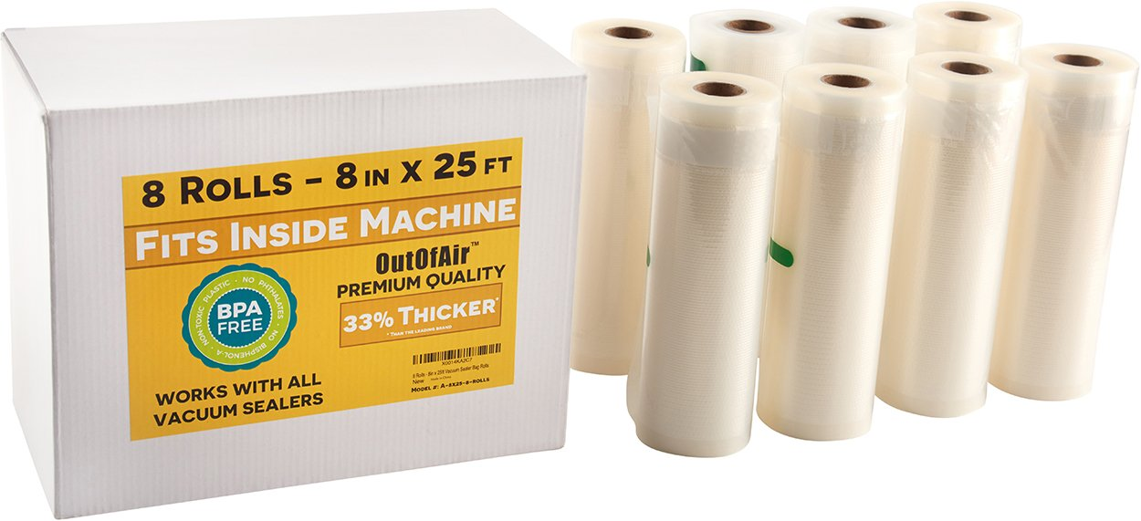 8'' x 25' Rolls (Fits Inside Machine) - BULK 8 Pack (200 ft total) OutOfAir Vacuum Sealer Rolls for Foodsaver, Weston, Others 33% Thicker BPA Free FDA Approved Sous Vide Commercial Grade Bags