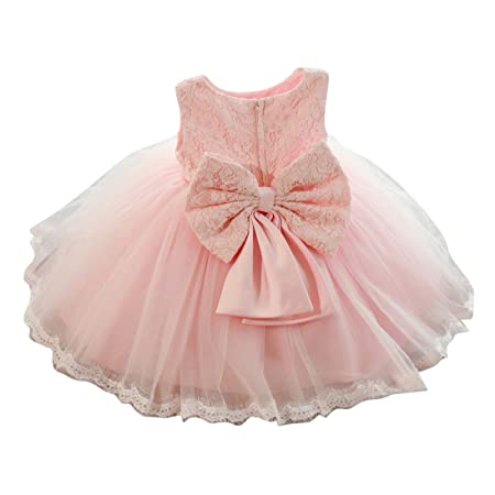Kinder-Baby-Mädchen-Partei-Kleid-Blumenspitze-Hochzeits-Brautjunfer-Bowknot-Prinzessin Kleider (120cm/4-5Y, Rosa)