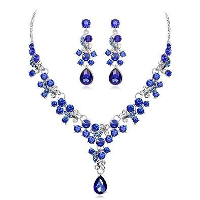 cb5f317551f3 Aleación de Diamantes de Imitación Collar de Perlas Pendientes Colgantes  Conjunto Regalo de Joyería de Boda por ESAILQ  Amazon.es  Joyería