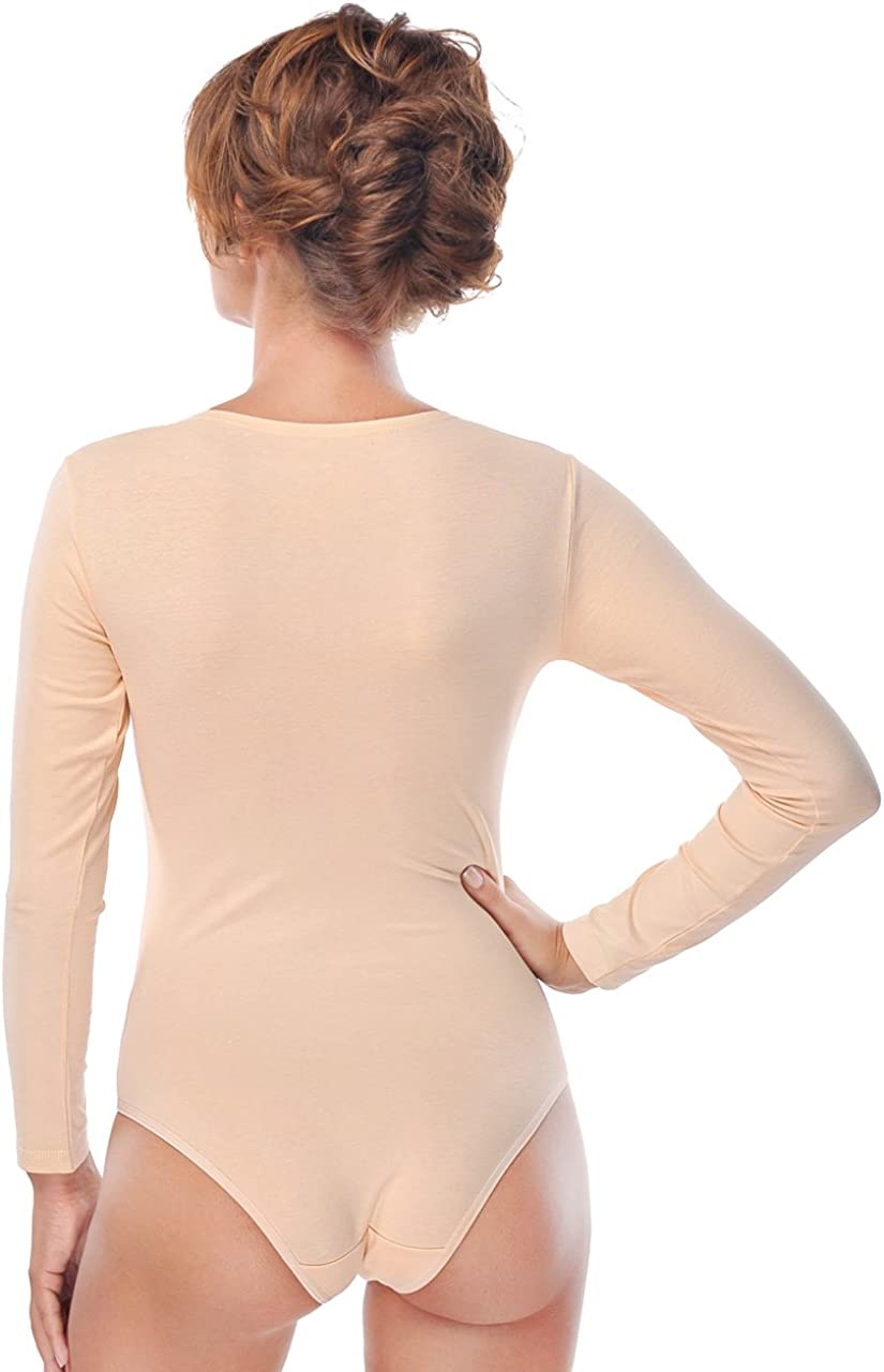 con chiusura a maniche lunghe Evoni Body da ginnastica da donna con scollo rotondo per lo sport e il tempo libero