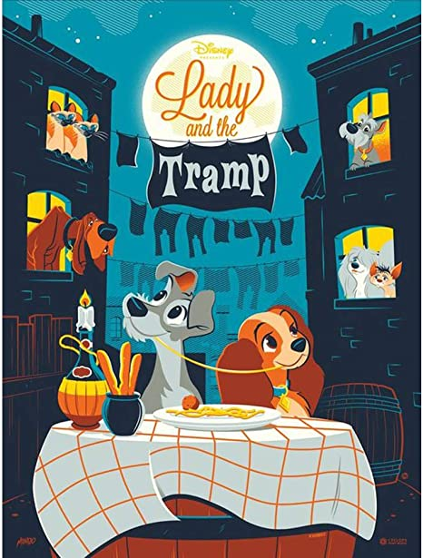 Amazon Com Diy 5d Diamond Painting Kit 16 X12 Lady And The Tramp Round Full Drill Crystal Rhinestone Embroidery Cross Stitch Arts Craft Canvas For Home Wall Decor Adults And Kids