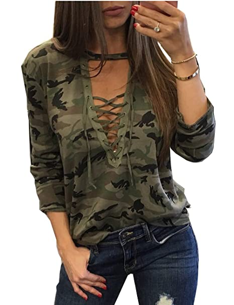 098b37d7c2b ABD Womens V Neck Long Sleeve Camouflage Print Bandage Loose Blouse T-Shirt  Top Small