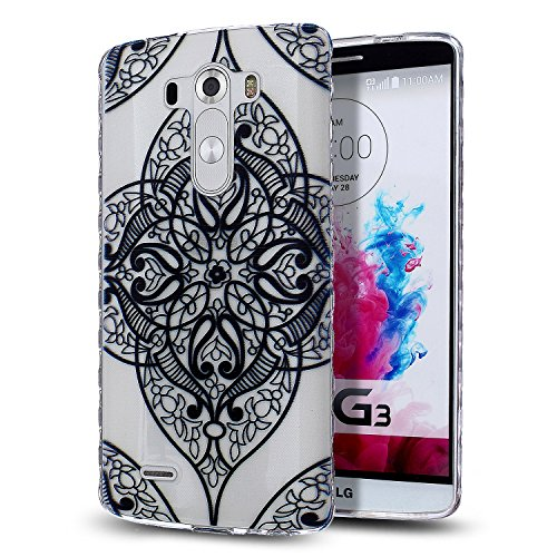 LG G3 Case,LG G3 TPU Case,NSSTAR [Scratch-Proof] Ultra Thin Crystal Clear Rubber Gel TPU Soft Silicone Bumper Case Cover with Shockproof Protective Case for LG G3,Black Lace Flower #1