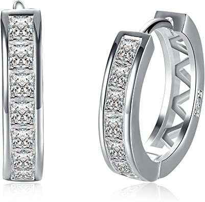 Fashion Small White gold plated Hoop Earrings Cubic Zirconia For Women Teen Girls