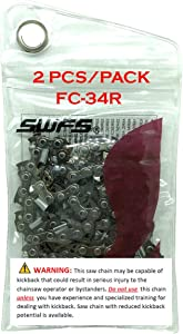 SWFS Reliable (2-PACK) Replacement R34 Saw Chain for 8 Inch Bar, fits Black and Decker, Craftsman, Dewalt, Oregon, Ryobi and others