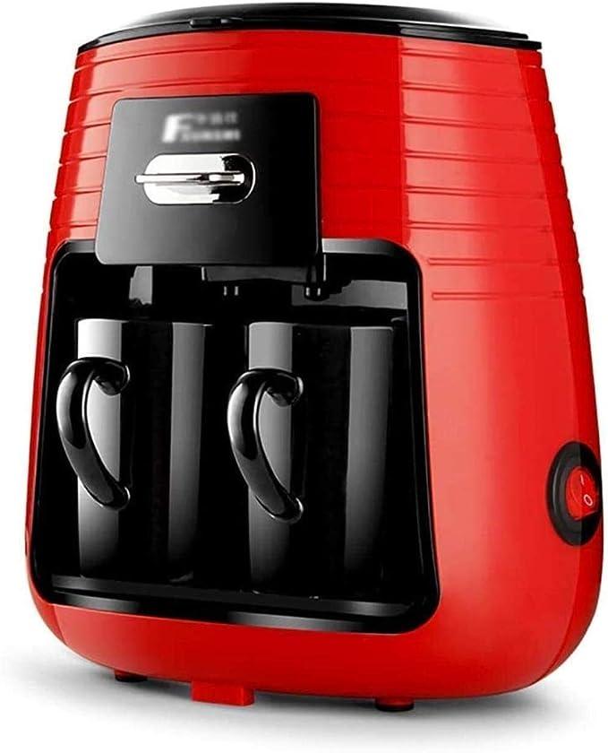 ZLSANVD Cafetera de Filtro Cafetera Hogar Mini Maker 2 Taza de café Máquinas automáticas de té de café del Viaje con 2 Taza de cerámica Anti-Goteo Sistema 250ml 450W máquina de café