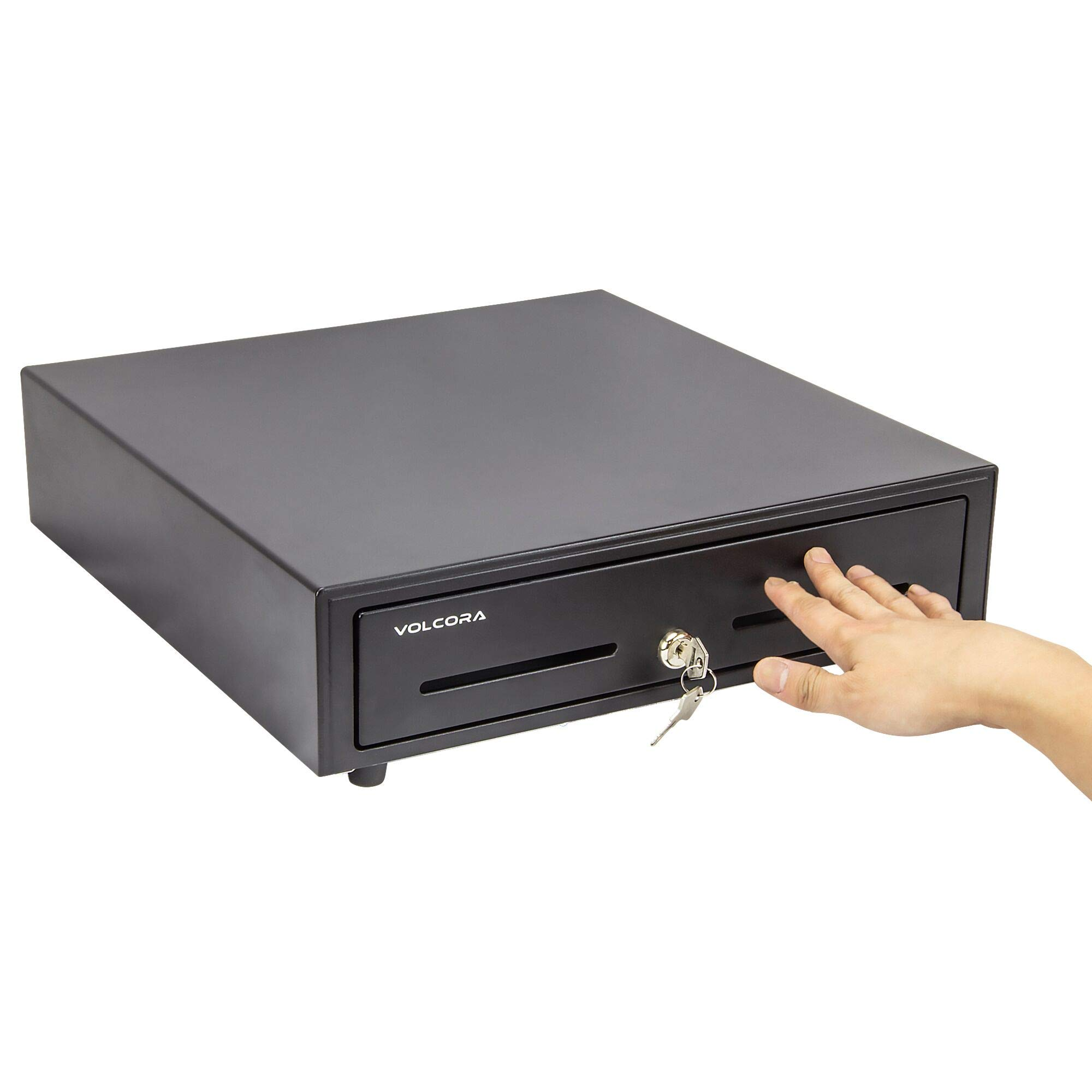 16'' Manual Push Open Cash Register Drawer for Point of Sale (POS) System, Black Heavy Duty Till with 5 Bills/8 Coin Slots, Key Lock with Fully Removable Money Tray and Double Media Slots by Volcora