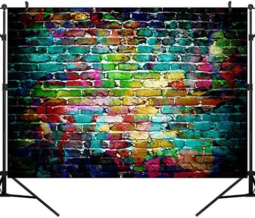 OUYIDA 9X6FT Seamless Colorful Brick Wall Pictorial Cloth Photography Background Computer-Printed Vinyl Backdrop TG02B