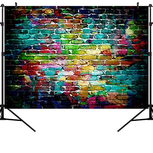 OUYIDA 9X6FT Seamless Colorful Brick Wall Pictorial Cloth Photography Background Computer-Printed Vinyl Backdrop TG02B (Rolled Backdrops)