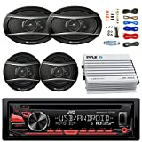 JVC KDR480 Car Radio USB AUX CD Player Receiver - Bundle With 2x TSA1676R 6.5'' 3-Way Car Audio Speakers - 2x 6.5''-6.75'' 4-Way Stereo Speaker + 4-Channel Amplifier + Amp Kit