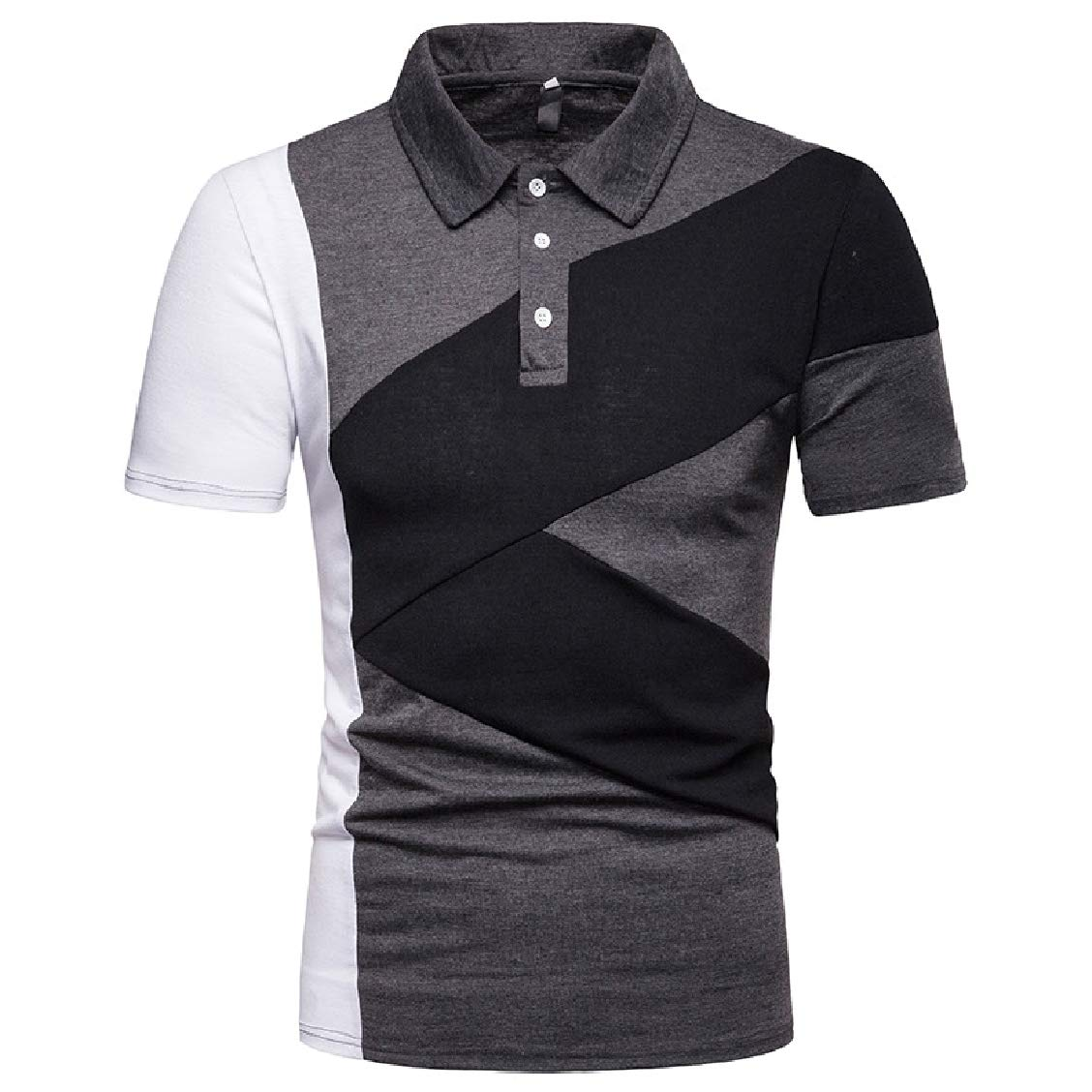 FieerMen Business Patched Plus Size Short-Sleeve Summer Top Tees Polo