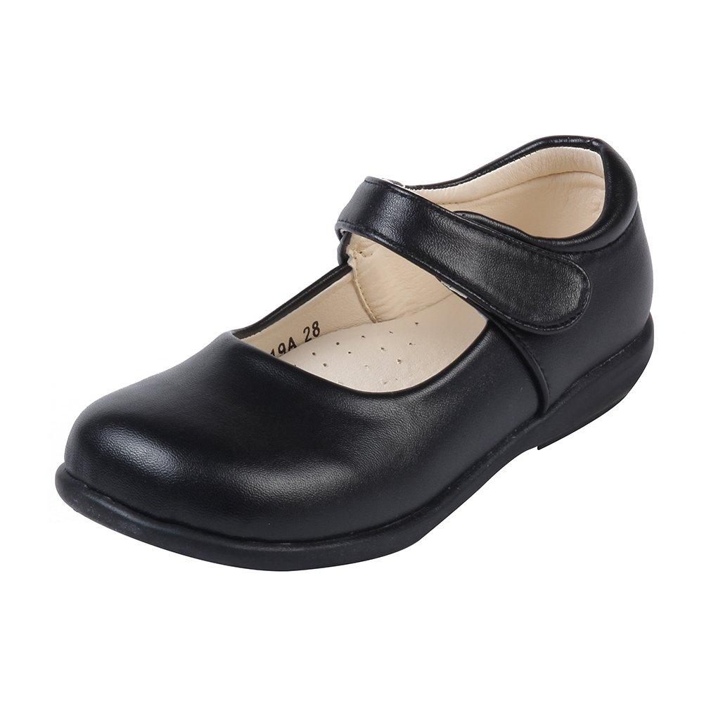 MK MATT KEELY Girls' School Uniform Leisure Leather Shoes Mary Jane Princess Shoes Matte Black 11 M US Little Kid